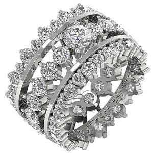Designer Bridal Ring Set 14k White Gold Prong Set-CR-194