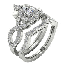 Load image into Gallery viewer, Cross View Designer Bridal Ring Set 14k White Gold-CR-200