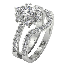 Load image into Gallery viewer, Designer Halo Bridal Ring Set I1 G 2.00 Ct Round Cut Diamond