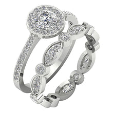 Load image into Gallery viewer, 14k White Gold Designer Bridal Ring Set-CR-214