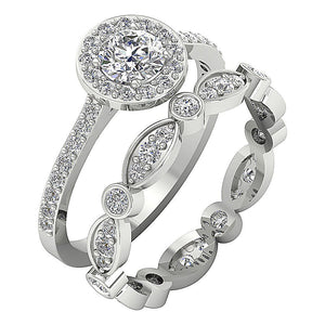 14k White Gold Designer Bridal Ring Set-CR-214