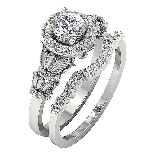 14k White Gold Designer Bridal Ring Set-CR-218