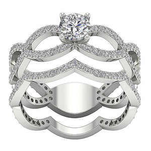 I1 G 1.40 Ct Designer Bridal Ring Set Natural Diamond Prong & Pave Set