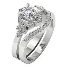 Load image into Gallery viewer, Designer Bridal Ring Set Round Brilliant Ideal Cut 14k White Gold-DCR124