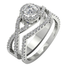 Load image into Gallery viewer, Designer Bridal Ring Set 14k White Gold Prong Set-DCR133