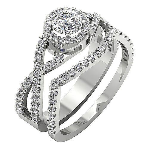 Designer Bridal Ring Set 14k White Gold Prong Set-DCR133