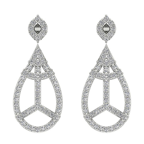 I1 G 1.10 Ct Dangle Chandelier Earrings Round Cut Diamonds 14k Solid Gold
