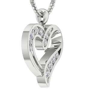 Heart Pendants I1 G 0.60 Ct 14k/18k White Yellow Rose Gold Channel Set Natural Diamonds