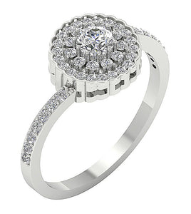 Side View Double Halo Engagement Ring 14k Gold-DSR634-2