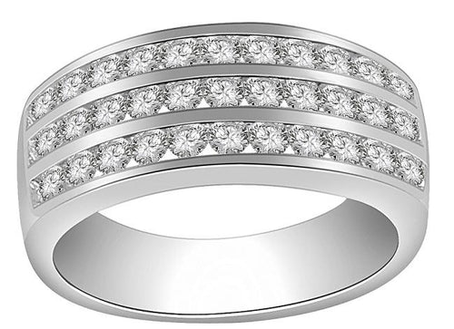 Right Hand Designer Engagement Ring Round Diamond VS1 E 1.10 Carat 14k White Gold Pave Set 8.00MM