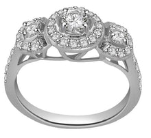 Load image into Gallery viewer, Top View Three Stone Engagement White Gold Ring-TR-83-3