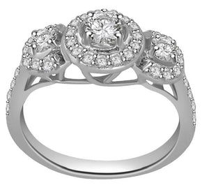SI1 G 0.90Ct Designer Three Stone Wedding Ring Natural Diamond Prong Pave Set 14K White Gold 8.45MM