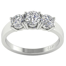 Load image into Gallery viewer, Three Stone Engagement Ring Natural Diamond I1 G 1.50Ct Prong Set 14k White Yellow Rose Gold 5.25MM