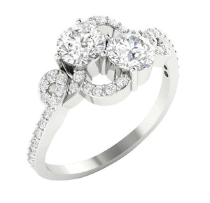 Forever Us Two-Stone Designer Solitaire Ring SI1 G 1.35 Ct Natural Diamond