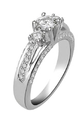 Load image into Gallery viewer, SI1 G 1.05Ct Designer Three Stone Engagement Ring Real Diamond Prong Pave Set 14K White Gold 4.80MM