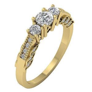 Three Stone Engagement Ring Gold Anniversary Gift-TR-120-4