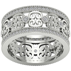 Top View White Gold Diamond Ring-DETR258