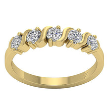 Load image into Gallery viewer, Designer Five Stone Wedding Ring SI1 G 1.00 ct Natural Diamond 14k Yellow Gold Prong Bar Set