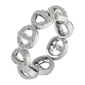 Designer Unique Wedding Eternity Ring I1 G 1.10ct Natural Diamond 14k White Gold