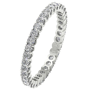 14k White Gold Stackable Wedding Eternity Ring VS1 E 1.01 ct Natural Diamond Prong Set 2.50MM