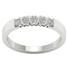 Load image into Gallery viewer, Five Stone Designer 14k White Gold Ring-DFR29