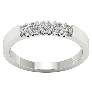 Five Stone Designer 14k White Gold Ring-DFR29