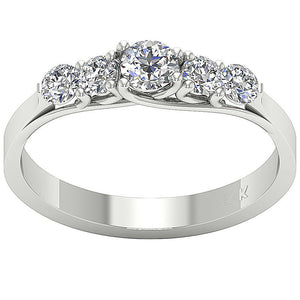 Designer Five Stone Engagement Ring I1 G 0.80 ct Natural Diamond 14k White Gold