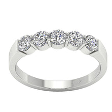 Load image into Gallery viewer, Designer Five Stone Wedding Ring SI1 G 1.00 ct Natural Diamond 14k White Gold