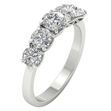 Load image into Gallery viewer, Five Stone Designer Ring 14k White Gold-DFR55