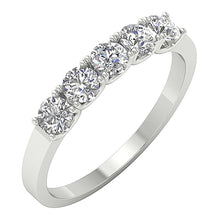 Load image into Gallery viewer, Five Stone Designer Ring 14k White Gold-DFR56