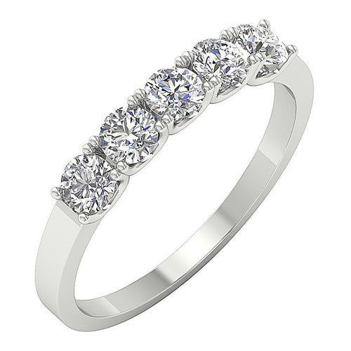 Five Stone Designer Ring 14k White Gold-DFR56
