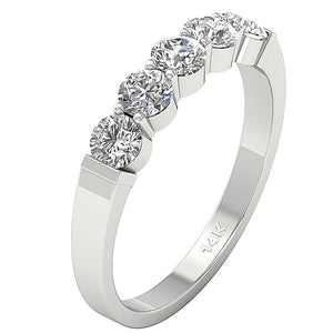 Designer Five Stone Wedding Ring SI1 G 1.00 ct Natural Diamond 14k White Gold