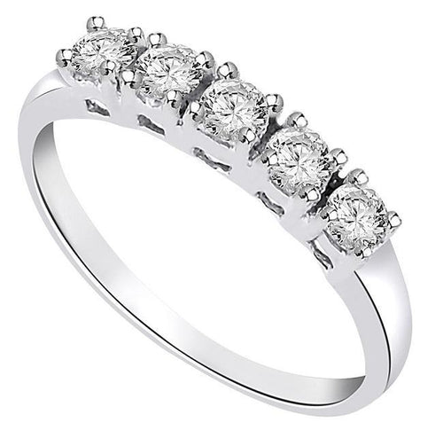 5-Stone Designer Ring 14k White Gold-fr-23