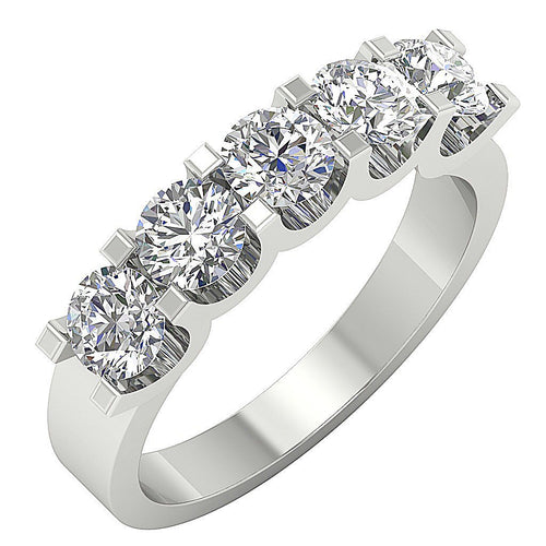 Designer Five Stone Ring Prong Set White Gold-DFR57