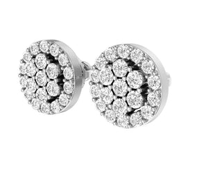 Designer Halo Solitaire Studs Earrings 14k/18k Solid Gold Natural Diamonds VS1 E 0.90 Ct