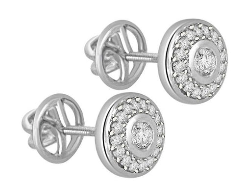 14k-18k White Gold Designer Halo Earring-E-472
