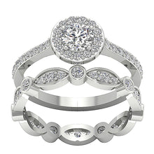 Load image into Gallery viewer, Natural Diamond Designer Halo 14k White Gold Ring-CR-214