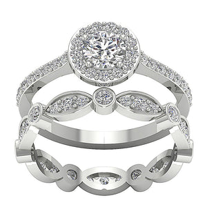 Natural Diamond Designer Halo 14k White Gold Ring-CR-214