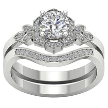 Load image into Gallery viewer, 14k White Gold Prong Set Designer Halo Ring-DCR124