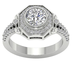 Accent With Solitaire Ring White Gold-DSR647