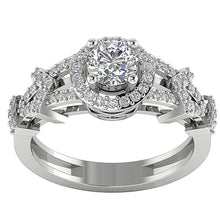 Load image into Gallery viewer, Prong Set Designer Halo Solitaire White Gold Ladis Ring-SR-1187