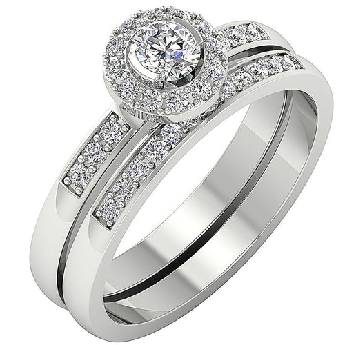 14k White Gold Designer Halo Engagement Ring Natural Diamond-DCR103