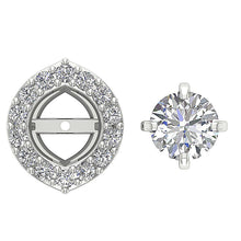 Load image into Gallery viewer, Screw Back Halo Studs White Gold Earring-E-782-6