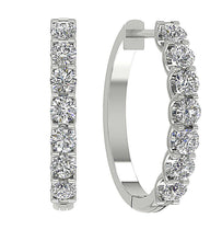 Load image into Gallery viewer, 14k White Gold Designer Hoops Earring-DE102