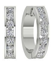 Load image into Gallery viewer, Large Hoops Earrings Natural Diamonds I1 / SI1 G 1.50 Ct 14k White Yellow Rose Gold Channel Set