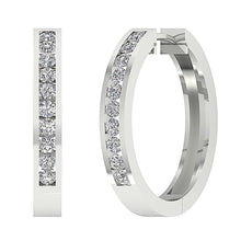 Load image into Gallery viewer, Large Hoops Earrings SI1 G 2.20Ct Natural Diamonds Channel Set 14k White Yellow Rose Gold