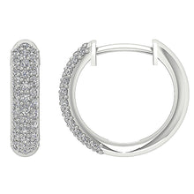 Load image into Gallery viewer, Hinged Back White Gold Hoop Earrings-DE227