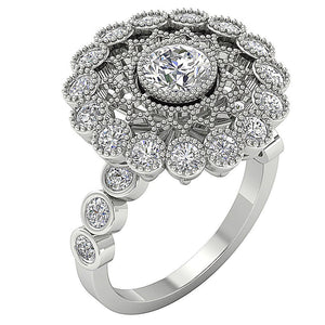 Accent With Milgrain Solitaire Round Cut Diamond Engagement Ring I1 G 3.15 Ct Solid Gold 19.25MM
