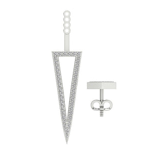 Triangle Genuine Diamond White Gold Earring-E-780-9
