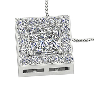 Designer Natural Diamond Squre Halo Pendants-DP419